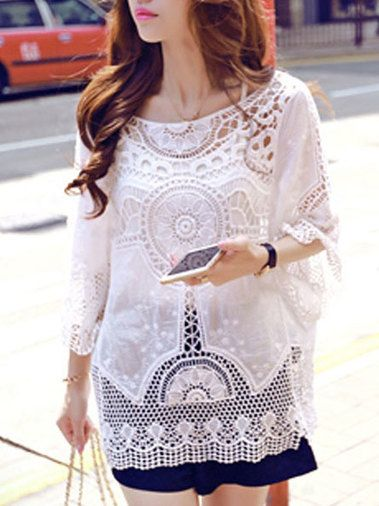 Beach Embroider Hollow Out Sun-Protective Pollover White Tops on buytrends.com