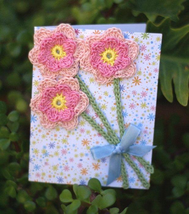 Автографом гагарина, открытка с цветами вязанные крючком