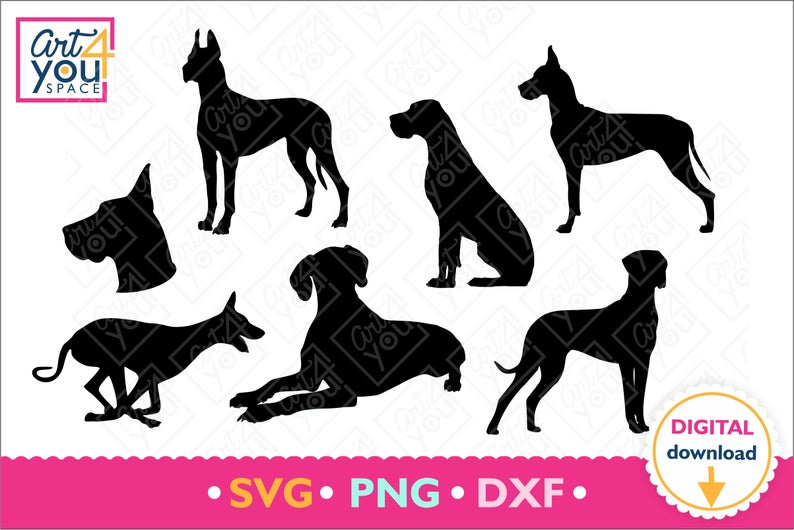 Great Dane Svg Dog Breed Love Great Dane Mom Dad Clipart Dog Head Paw Silhouette Download Cricut Png Vector Tshirt Design Dxf Great Dane Dog Breeds Dogs