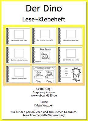 der dino lese klebeheft schule unterricht schule schule und deutsch lernen kinder. Black Bedroom Furniture Sets. Home Design Ideas