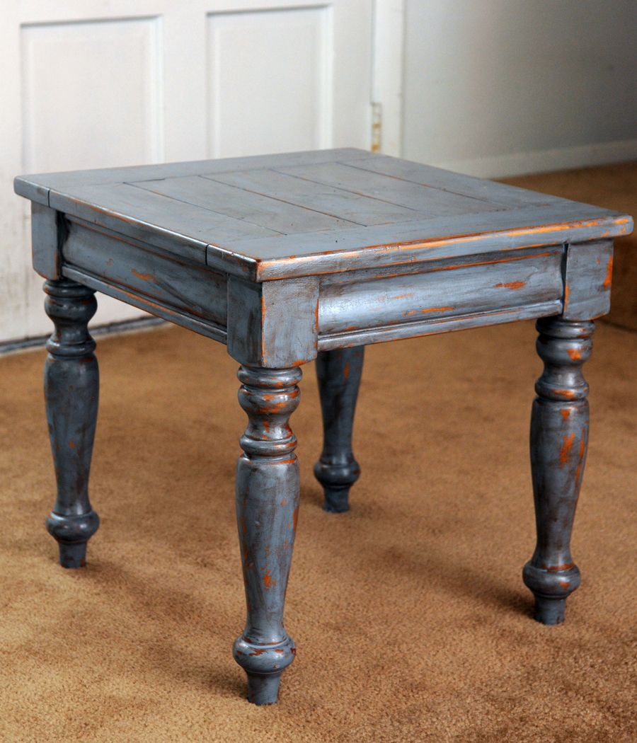 Another Second Hand Store Treasure All Wood Table Redone In Blue And Distressed With A Dark Oil