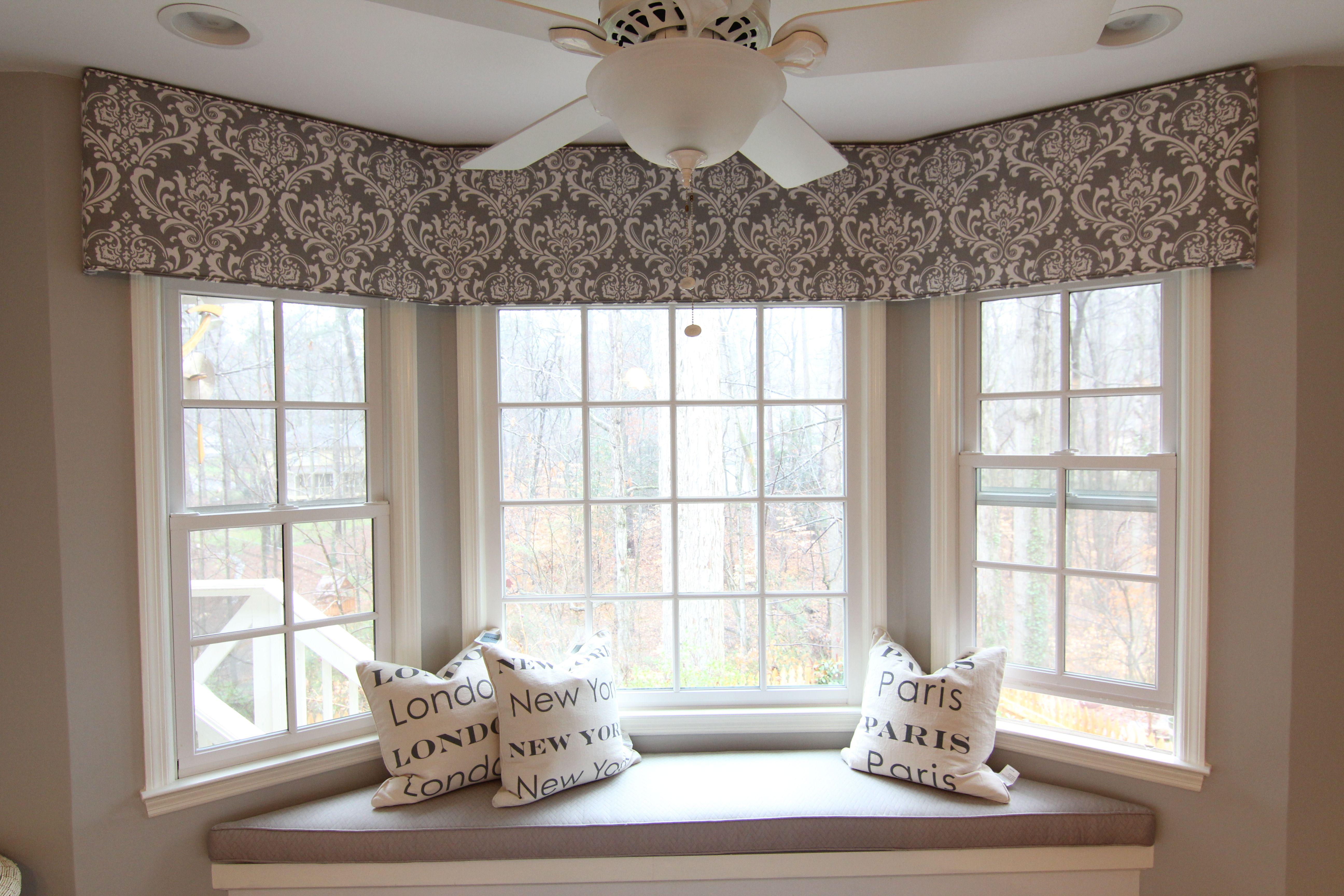 Bay cornice board window treatments living room bay