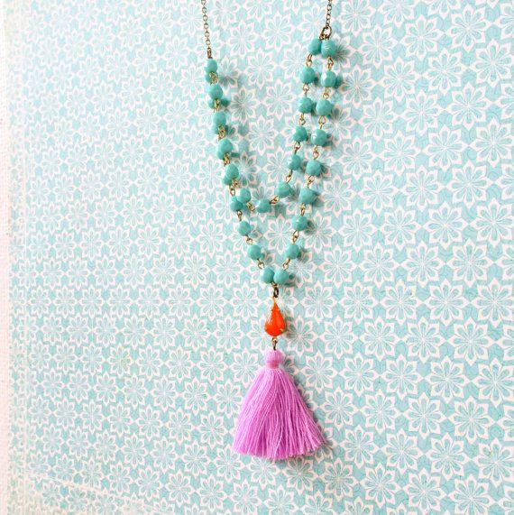 Aqua Bead Strand and Tassel Necklace Boho Long Necklace Lilac Tassel Necklace