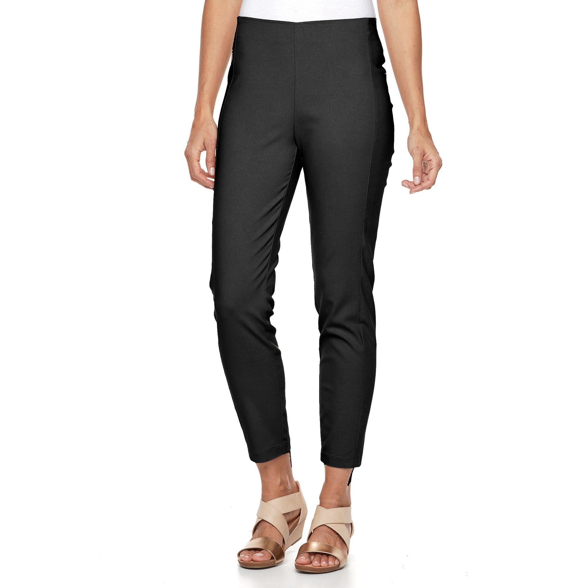 Women's Croft & Barrow® Slim Ankle Pants, Size: 16, Black