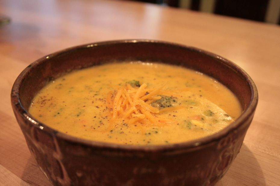 broccoli cheese butternut squash soup. Not vegan. Would replace flour with arrowroot...