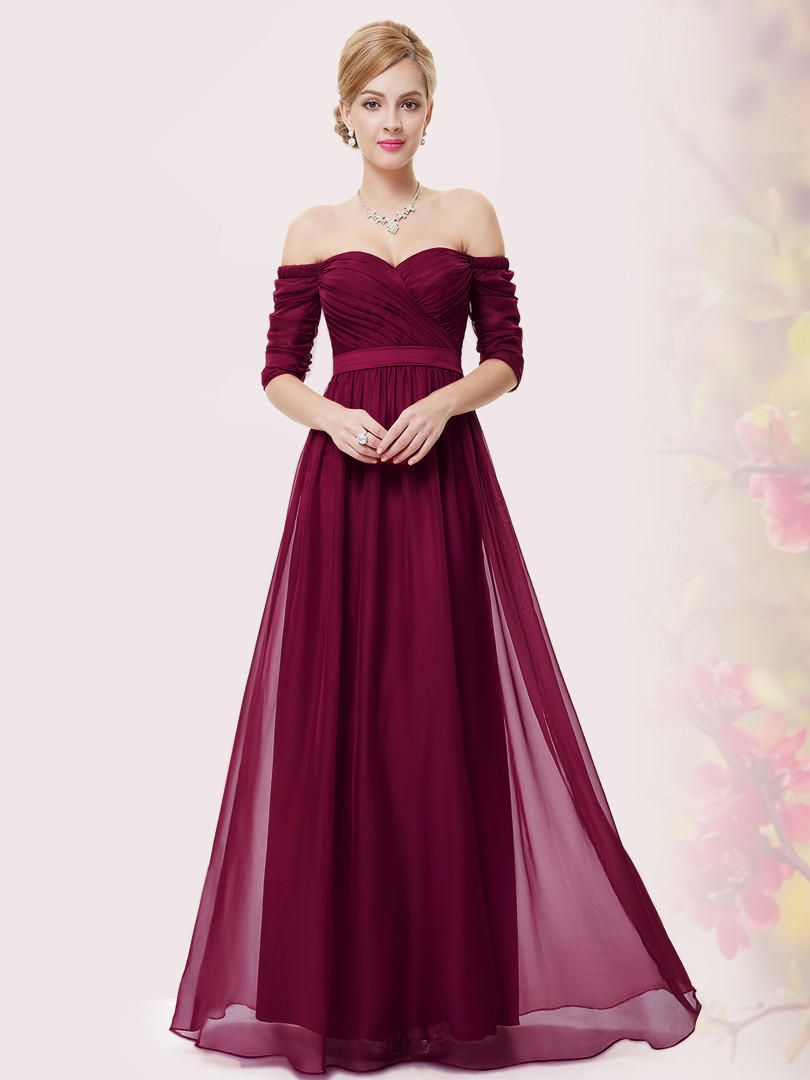 92f4795aeb2c Burgundy Ruched Off Shoulder Maxi Prom Dress from Midnight Bandit. Shop  more products from Midnight Bandit on Wanelo.