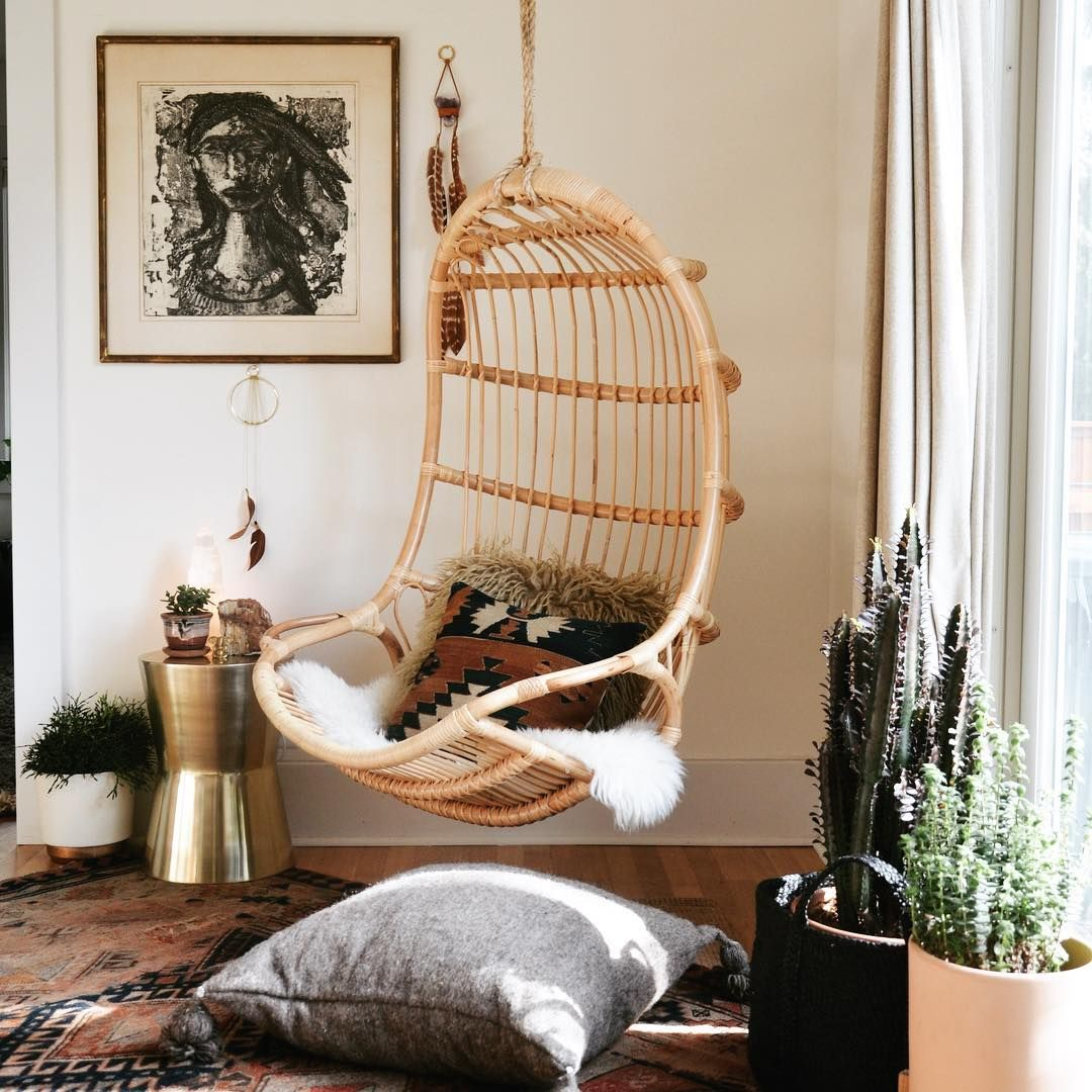 Bohemian Living Room Inspiration With Printed Pillows And Hanging Chair.  See Instagram Photos And Videos