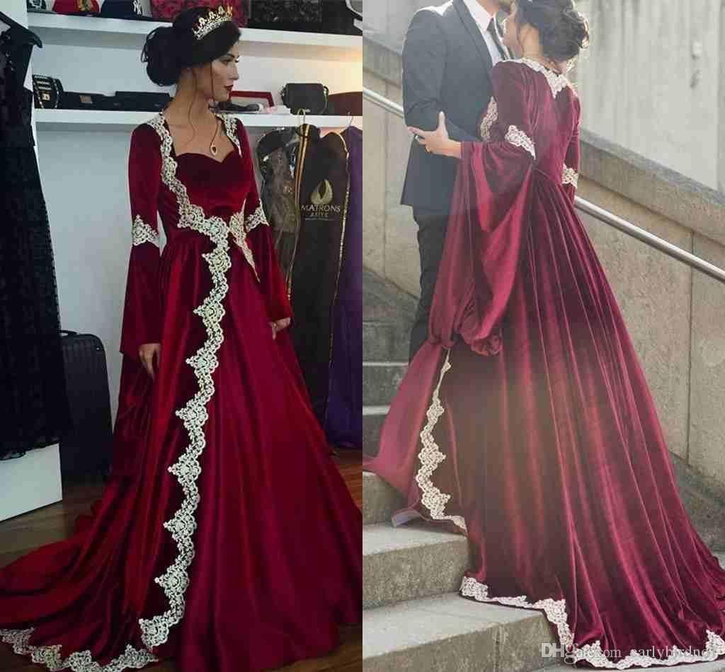 Long sleeves kaftan wedding dress burgundy velvet vintage muslim