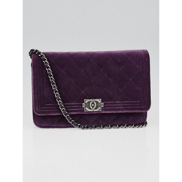 a142645af2add9 Pre-owned Chanel Violet Quilted Velvet Boy WOC Clutch Bag ($1,875) ❤ liked  on Polyvore featuring bags, handbags, chain strap purse, purple purse, pre  owned ...