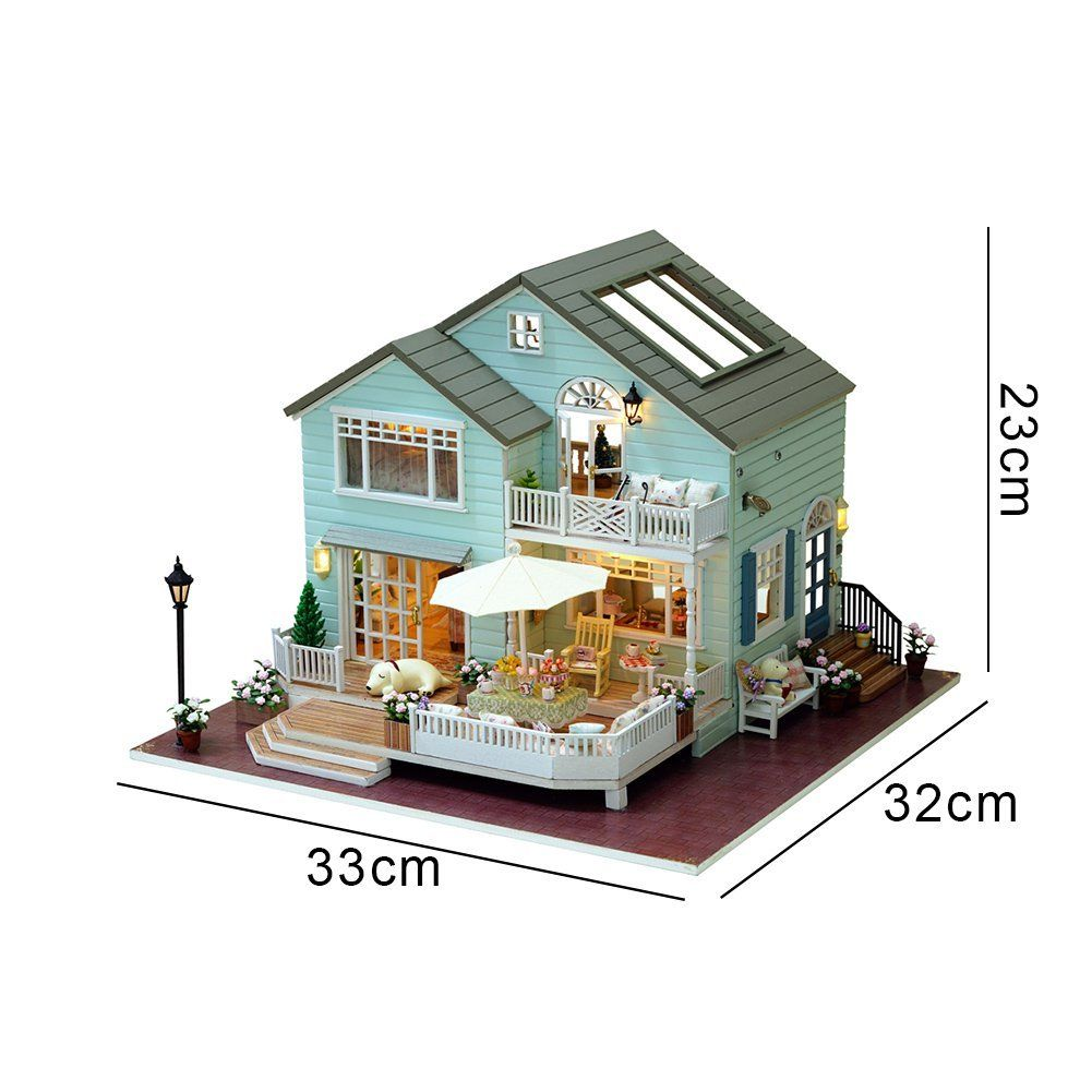 DIY Wooden Dollhouse Miniature Kit w// Furniture Queen Bedroom Gift Light