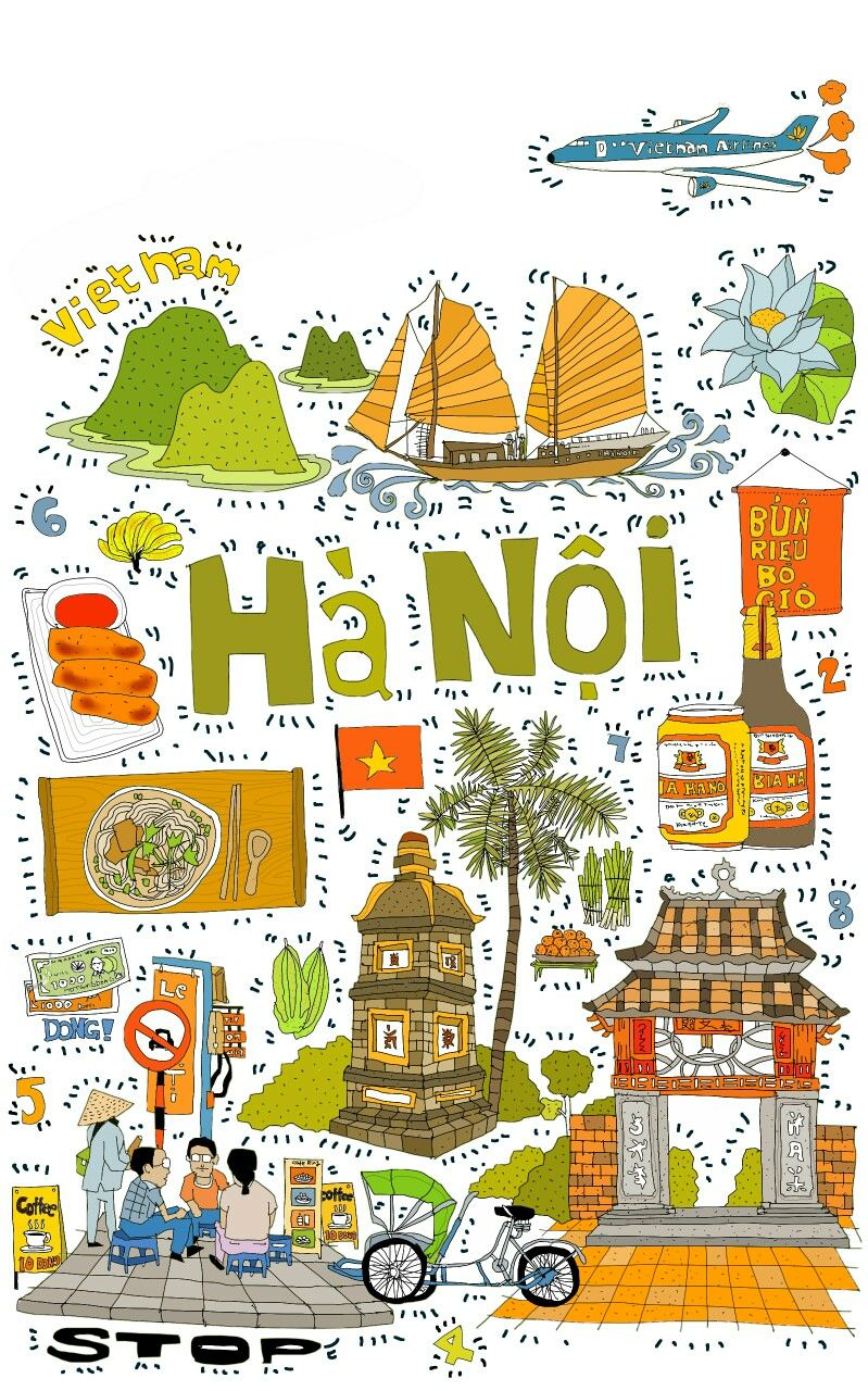 Arte Vietnam English Vietnam Illustration Favorite Places Spaces In 2019 Vietnam