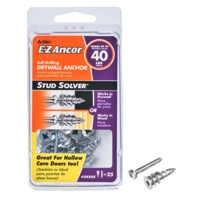 E Z Ancor 1 In Hollow Door And Drywall Anchors 25 Pack 25225 Drywall Anchors Drywall Hollow Core Doors