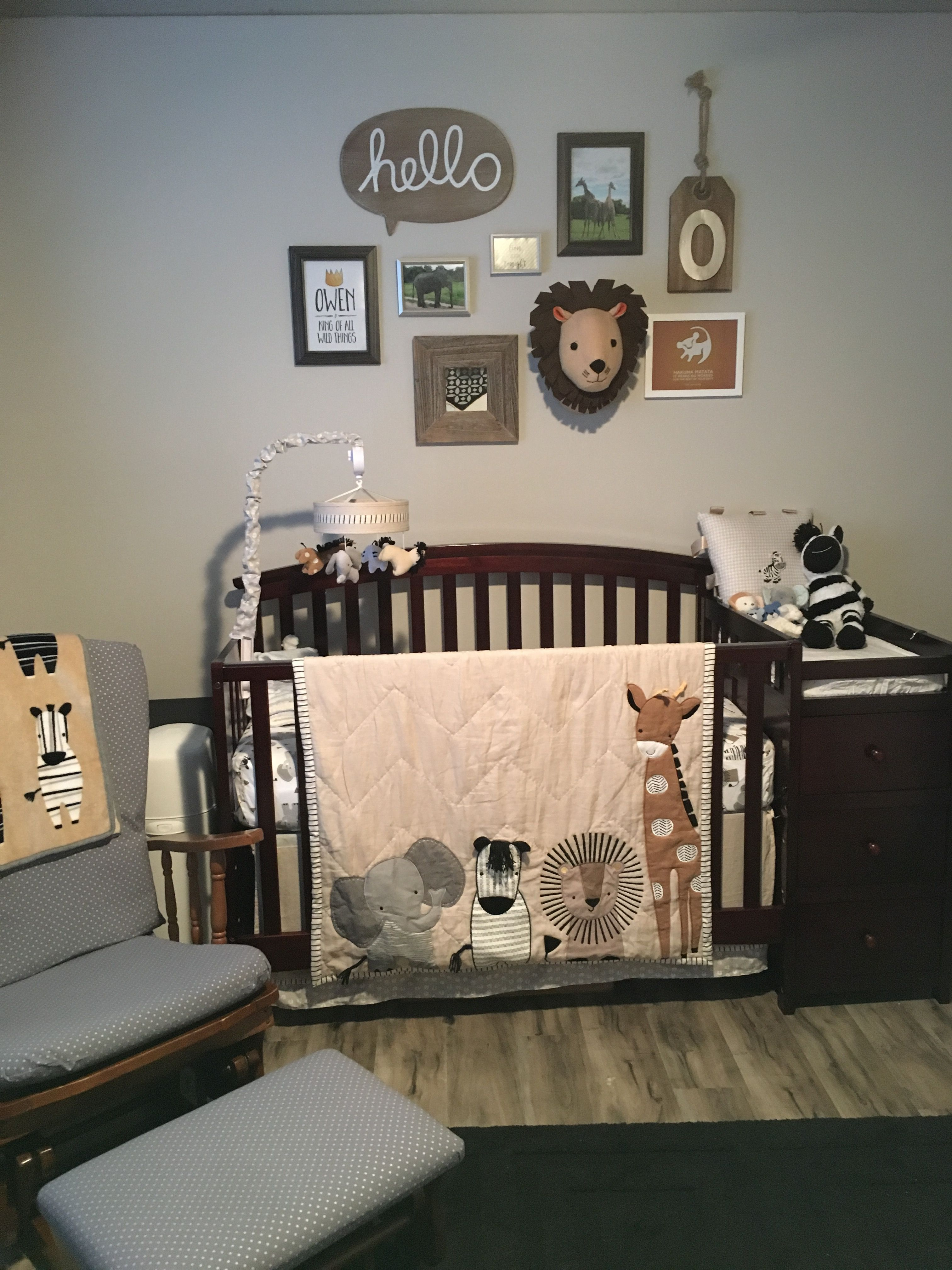 Baby Boys Nursery Theme Grey, Black & White, Brown And Yellow