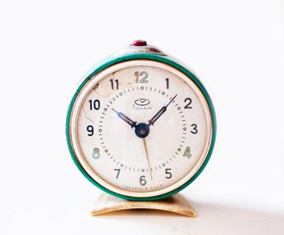 Vintage soviet mechanical alarm clock Vitjaz