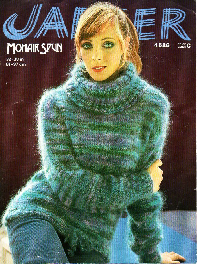 Ladies mohair polo neck sweater knitting pattern pdf womens mohair ...