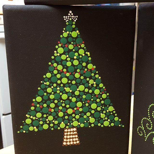 Made With The Mandala Dotting Tools Available Www Diymandalastones Com Xmastree Diymandalastones Do Dot Art Painting Christmas Tree Painting Polka Dot Art