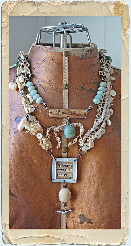 Nina Bagley, necklace of found objects....