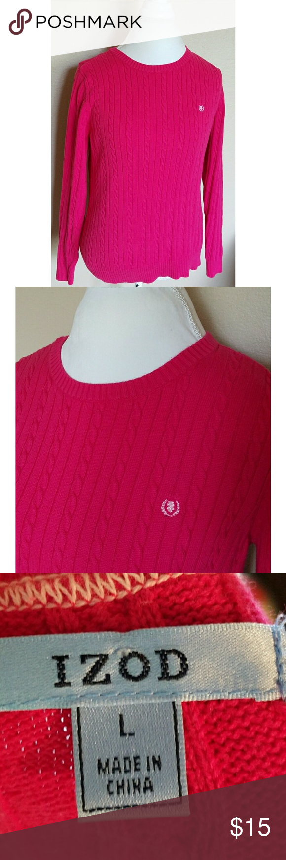 IZOD Dark Pink Cable Knit Crew Neck Sweater | Crew neck sweaters ...