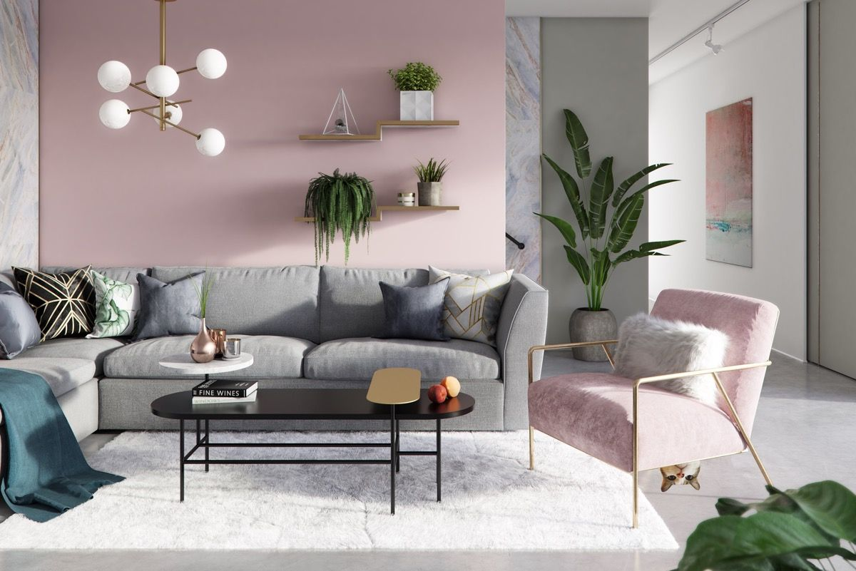 Pink And Grey Living Room In 2020 With Images Pink Living Room