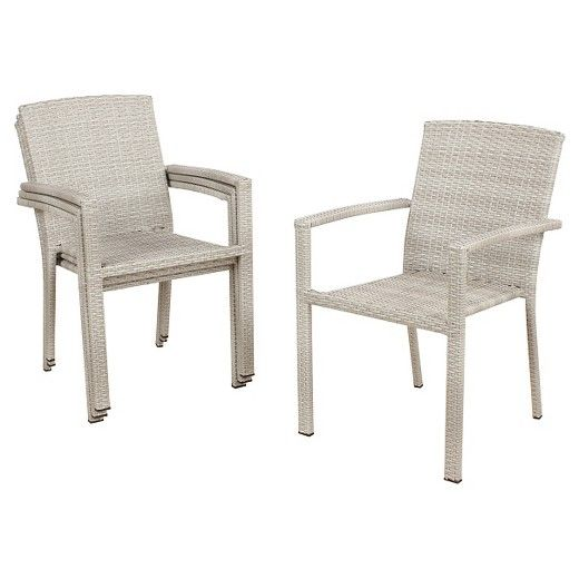 Southcrest 4pk Wicker Stacking Patio Chair Gray Threshold Target