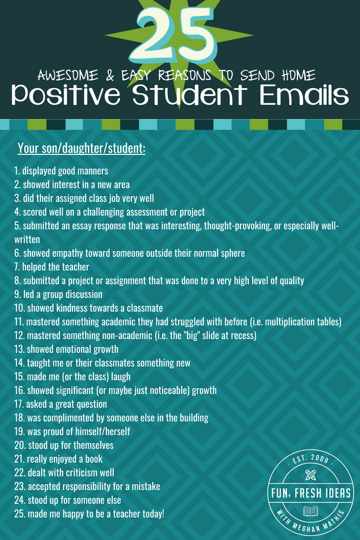 25 reasons to send home a positive student email teacher