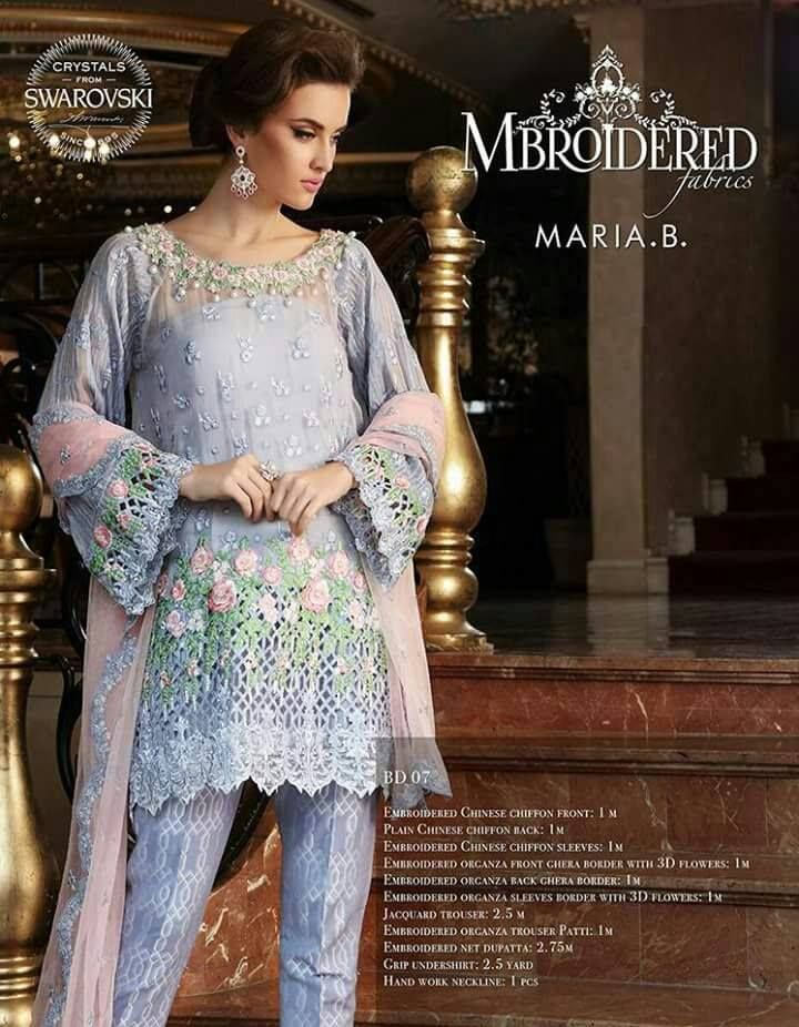 29ca3d9e11 Womens #Fashion #Pakistani #Designer #Suits #Haute #Couture for #work /  #Party and #Casual #wear- #Maria B #embroidered #light blue #chiffon #front  and ...