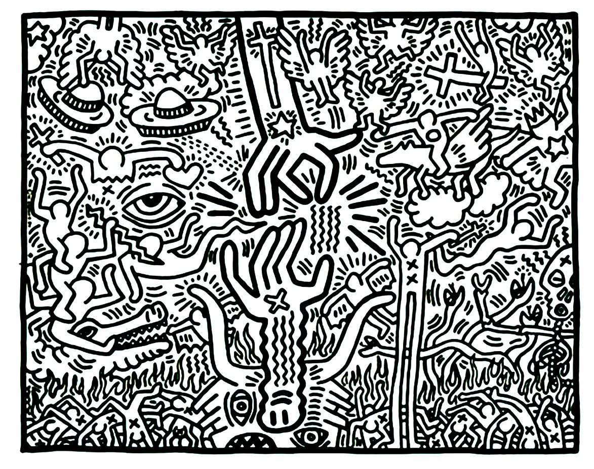 Keith Haring Pop Art Coloring Pages For Adults Just Color