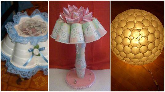 Ideas para elaborar lamparas con vasos desechables - Manualidades con vasos ...