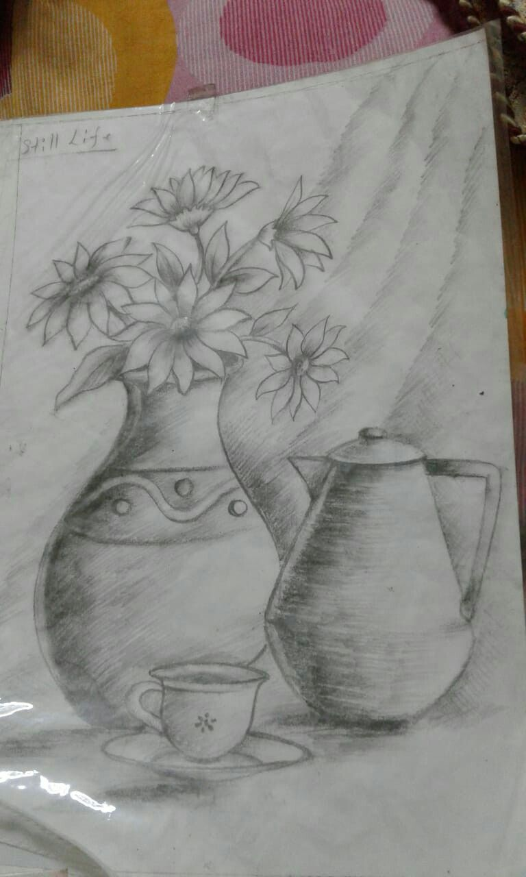 Pencil Shading Flower Pot Pencil Shading Sketches Flower Pots