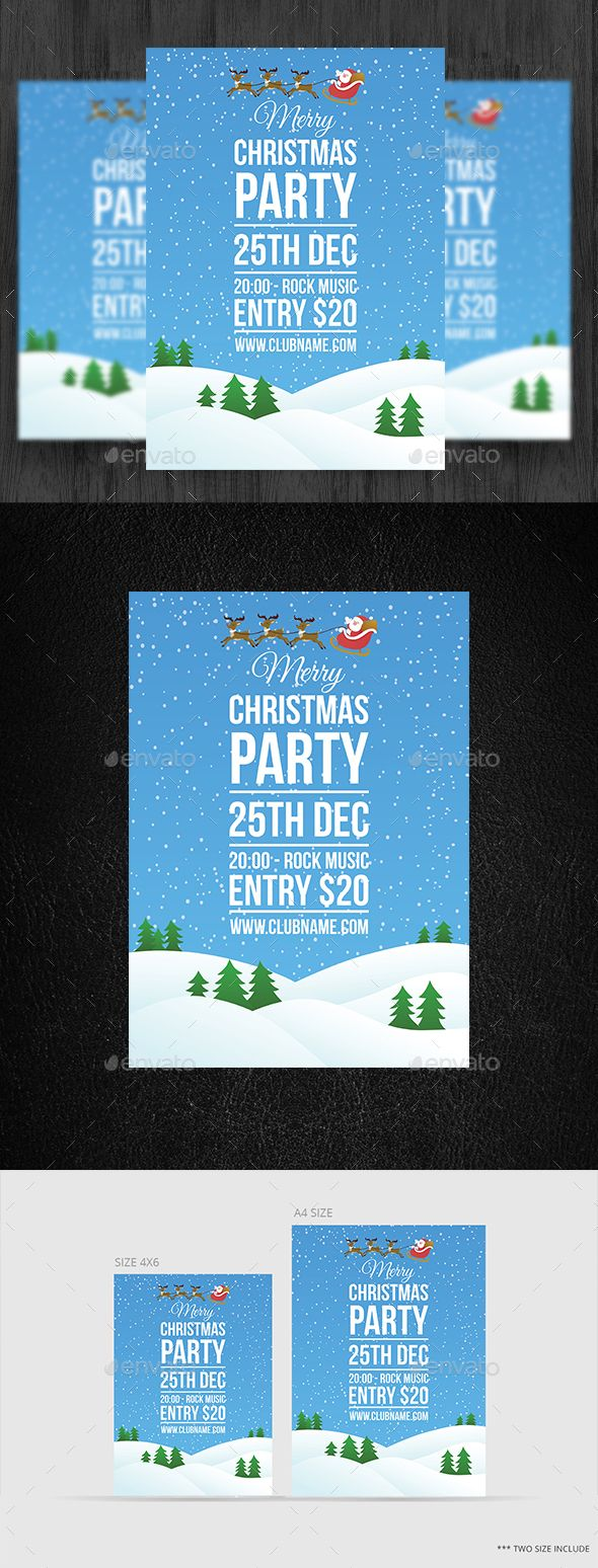 Merry Christmas Party Flyer  Party Flyer Flyer Template And
