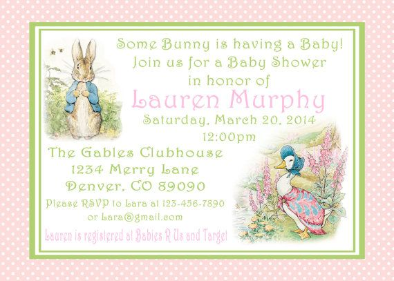 Peter Rabbit Baby Shower Invitations Bunny Easter 1st Birthday Party