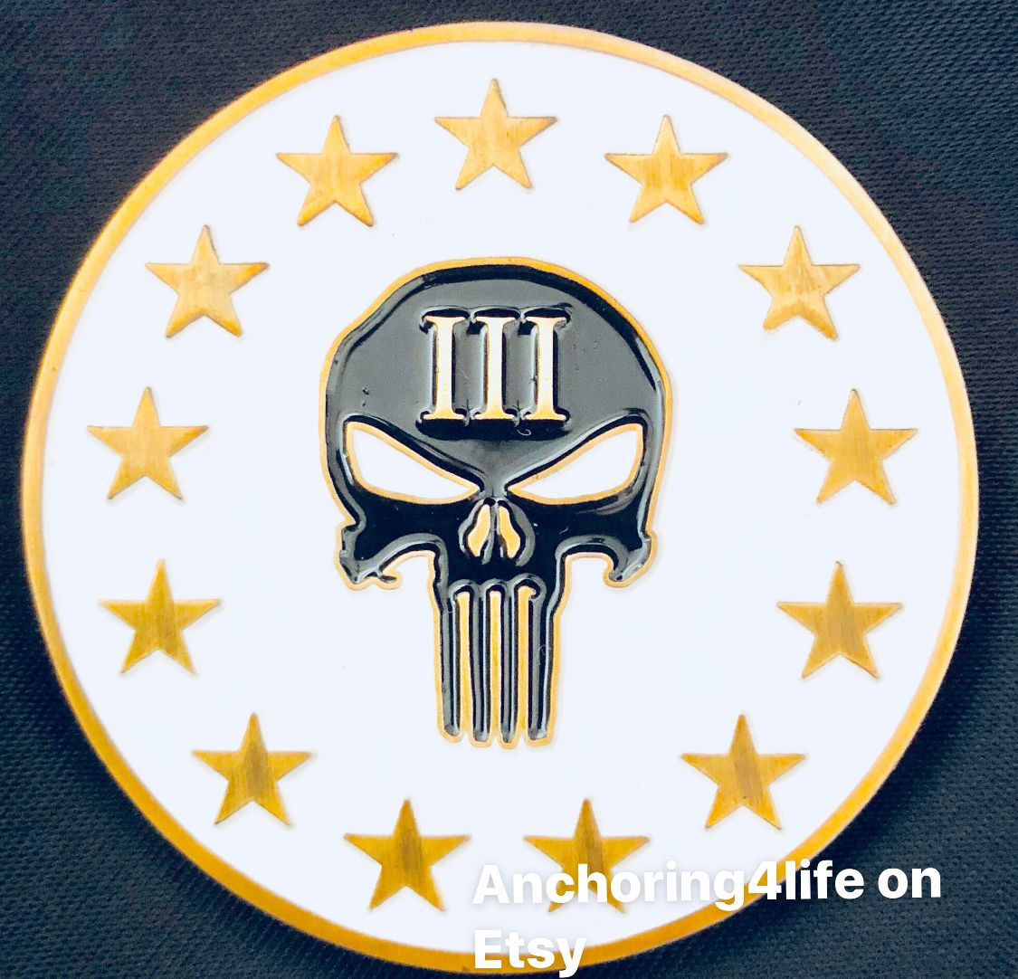 Three Percenter Three Percent 3 Patriot Challenge Coin