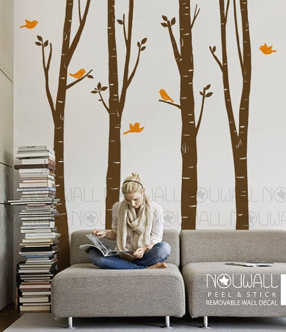 Birch Tree Wall decal with flying bird Wall decal wall sticker, living room wall decals, home decor, vinyl,wall decor - 075