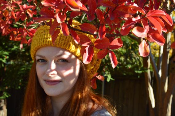 Warm Thick Yellow Woman Slouchy Hat by WithinTheBurrow on Etsy