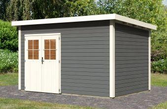 WoodFeeling Gartenhaus 28 mm Linau 12 grau 396x273cm Bild