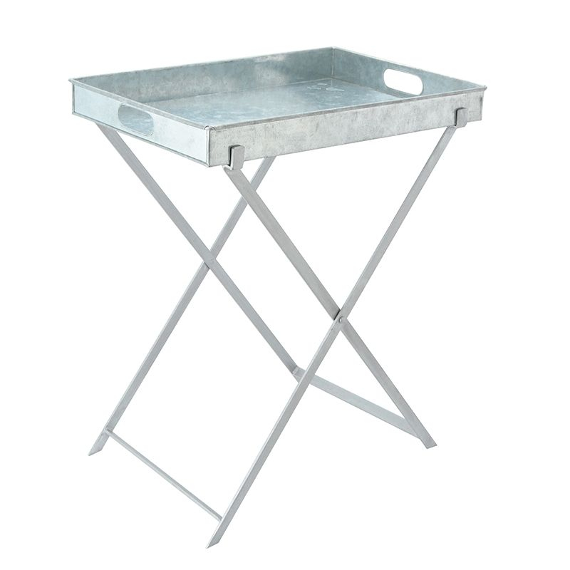 GALVANIZED BUTLER'S TRAY WITH IRON STAND