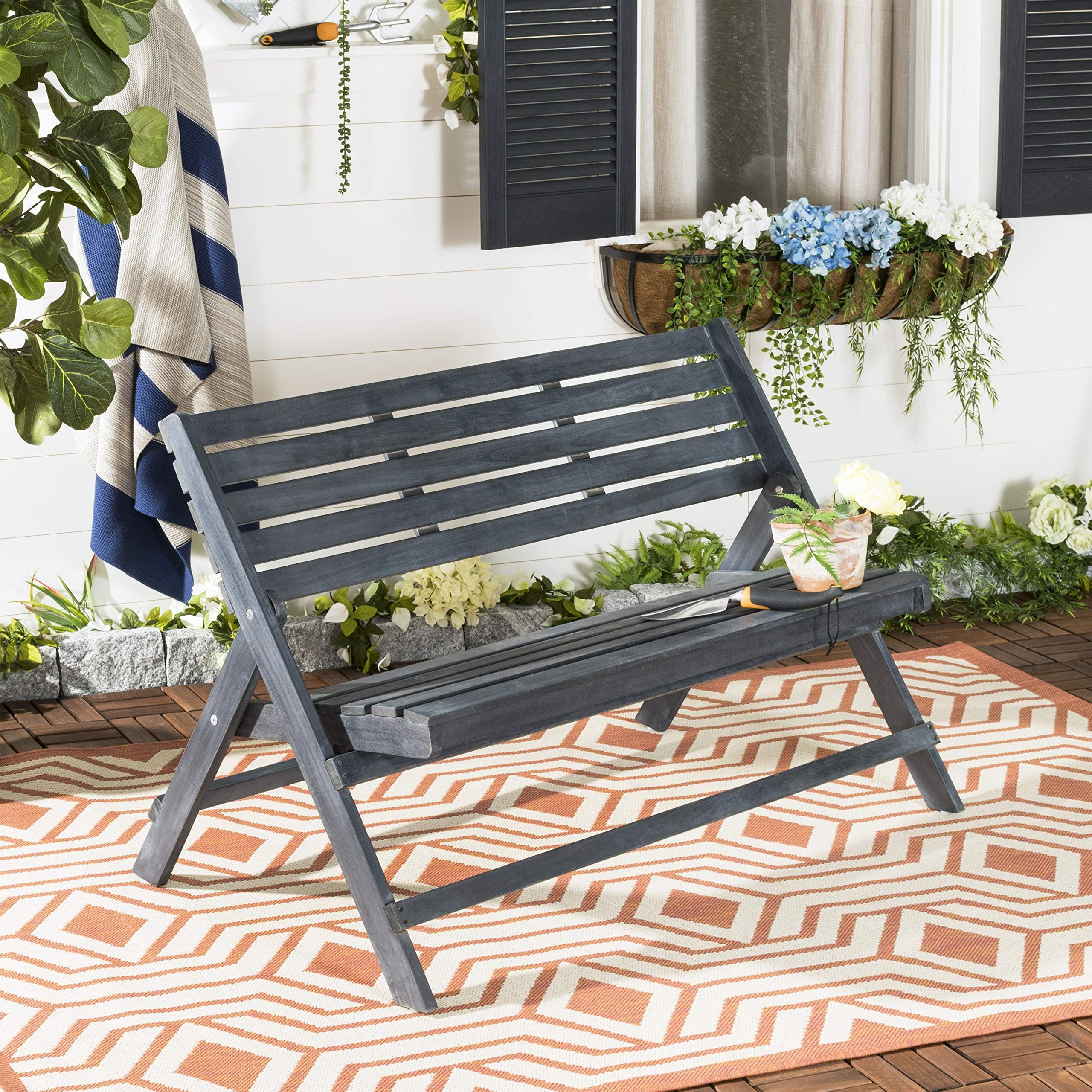 Safavieh FOX6705K Outdoor Collection Luca Grey Folding