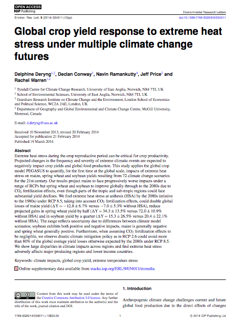 Deryng D Conway D Ramankutty N Price J And Warren R 2014 Global Crop Yield Response To Extreme Heat Stress Un In 2020 Heat Stress Climate Change Stress