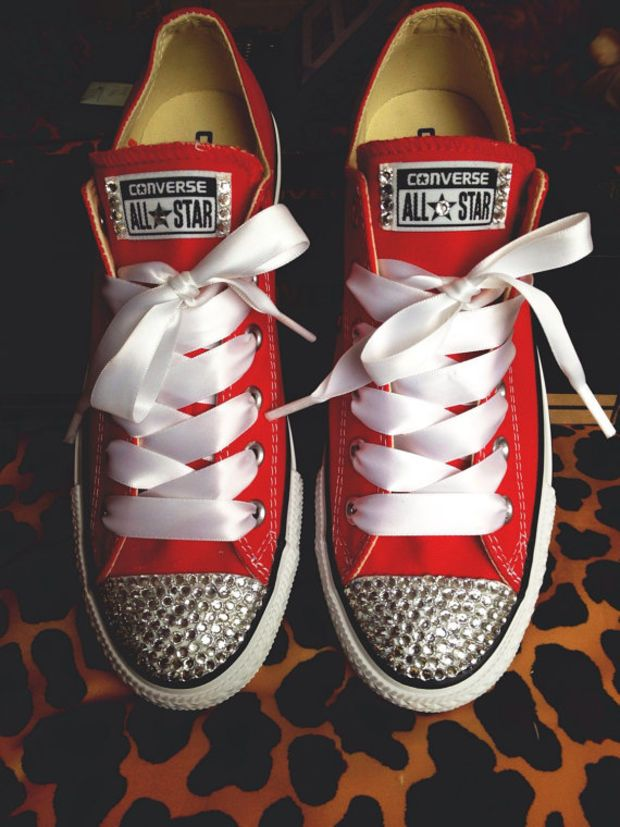 d5f21c1992b3d2 Rhinestone Converse with Ribbon Shoelaces. I need these in my life ...