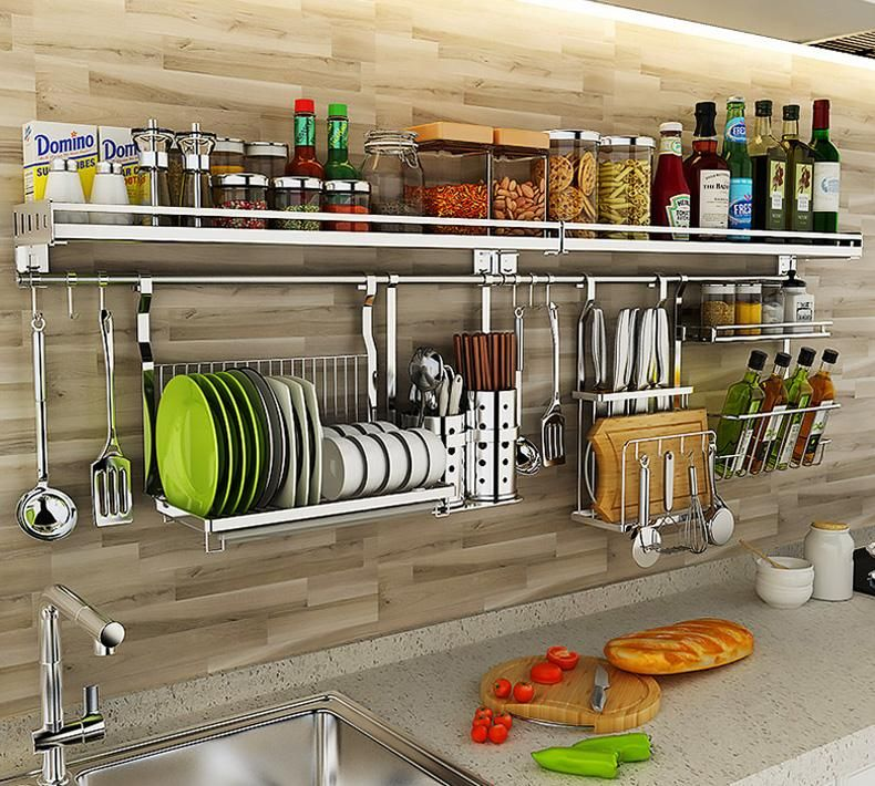 All In 1 Wall Mount Kitchen Rail System Goodliy Wall Mounted Kitchen Storage Simple Kitchen Kitchen Storage