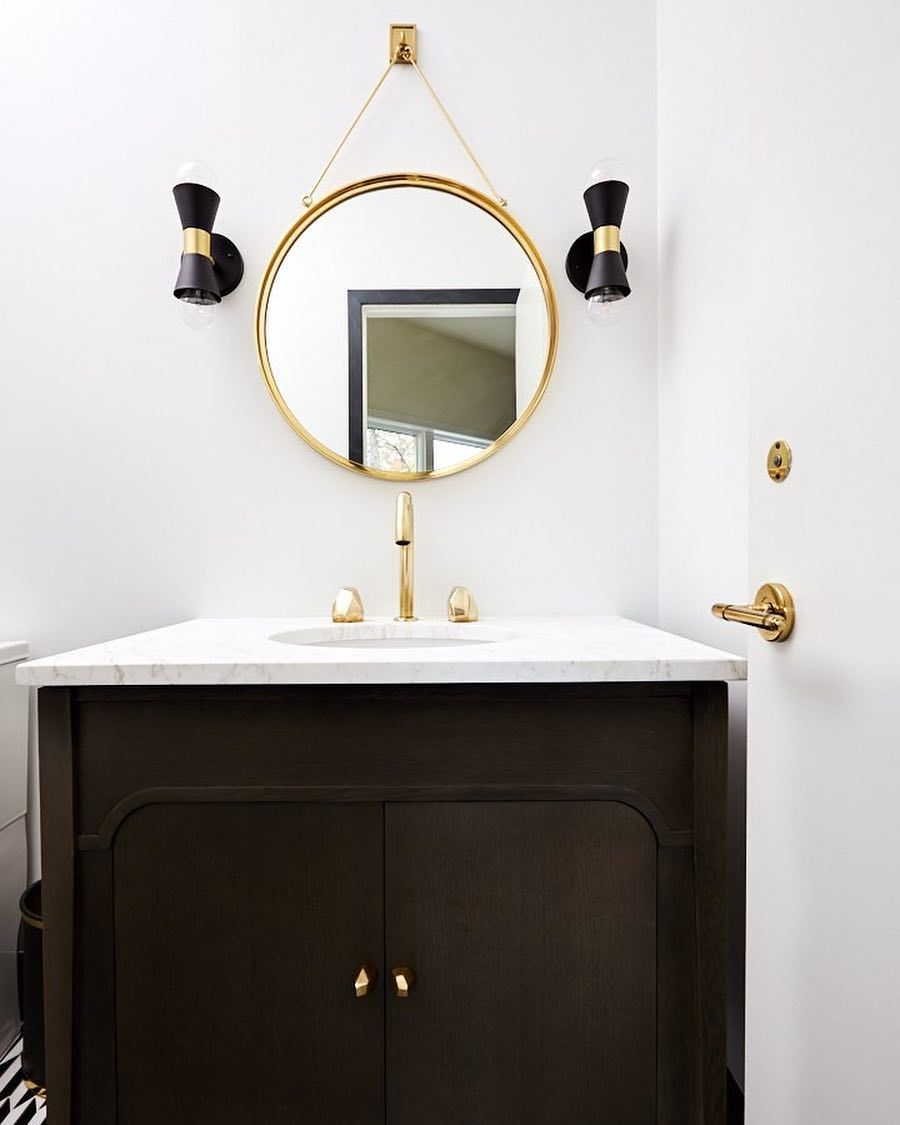 Waterworks On Instagram For A Client Who Wanted Hollywood Glamour Widellboschetti Chose Our Isla Goosene 1920s Interior Design Round Mirror Bathroom Mirror