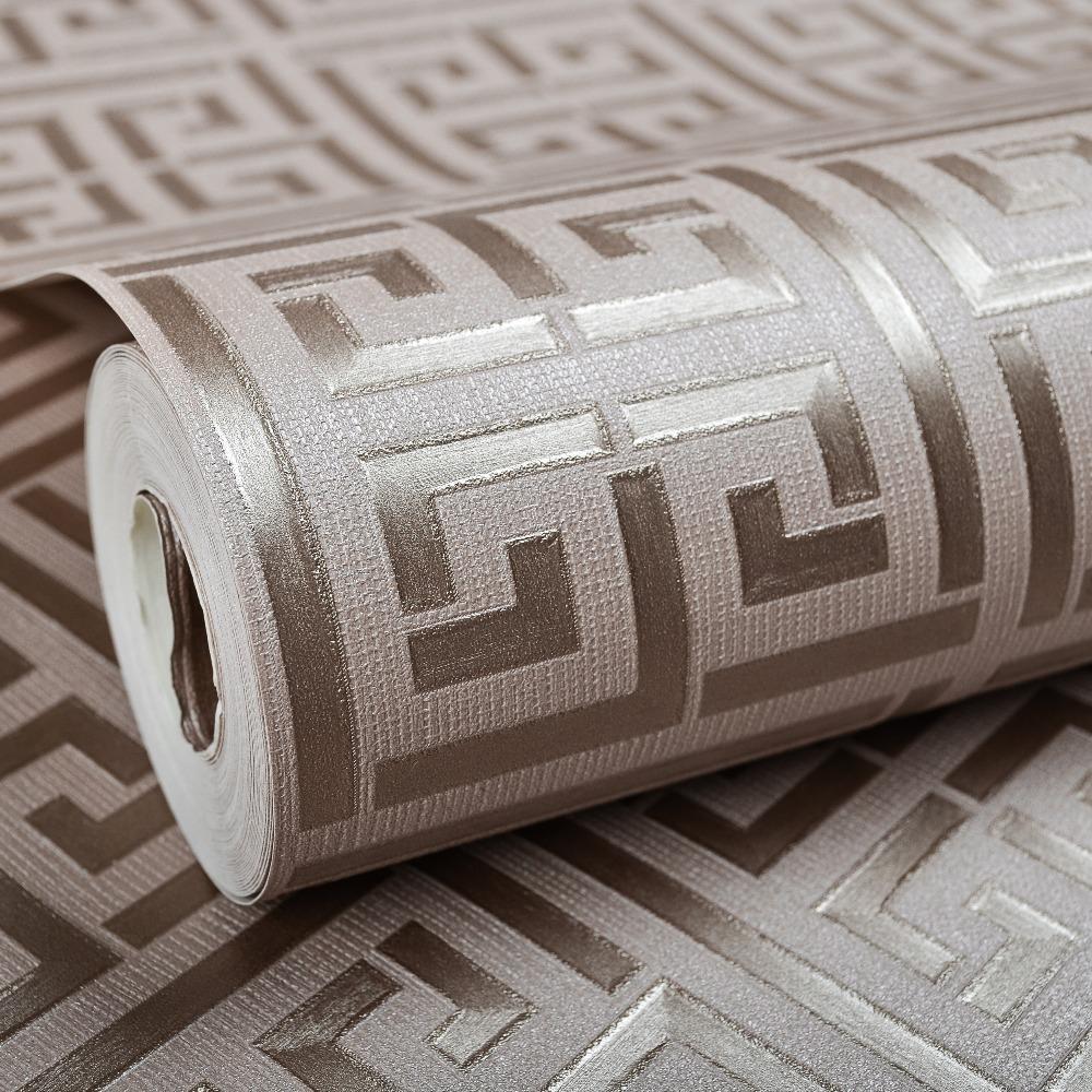 Contemporary Modern Geometric Wallpaper Neutral Greek Key