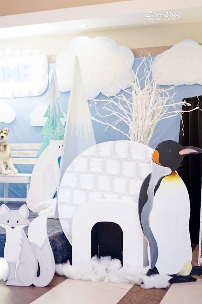 Arctic Animal Igloo Standees From An Arctic Animal Birthday Party On Kara S Party Ideas Kar Arctic Animals Arctic Decorations Winter Wonderland Decorations