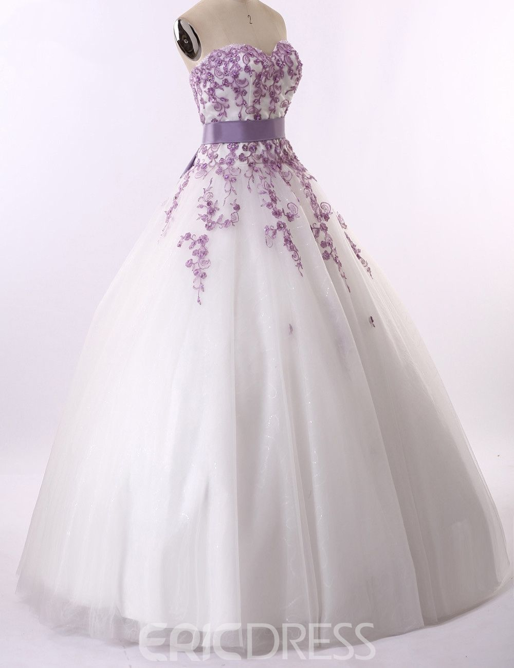 Ericdress Long Colorful Appliques Ball Gown Sweetheart Wedding