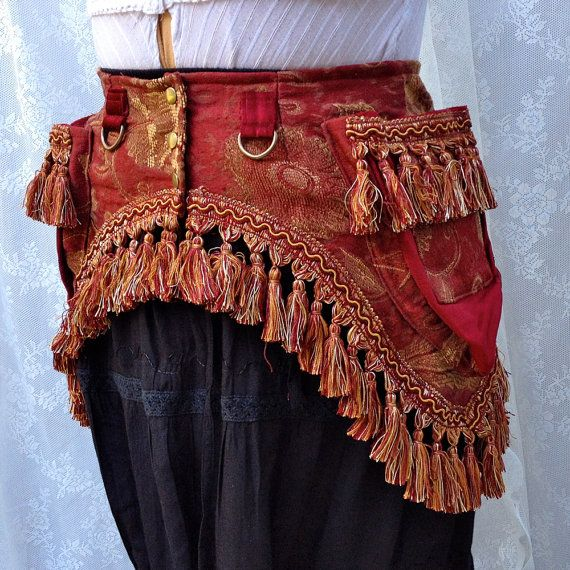 Tribal fusion utility belt  red tapestry by bluemoonkatherine, $160.00