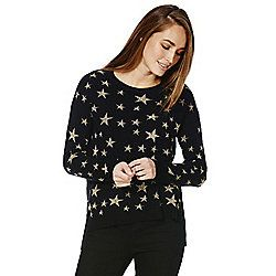F&F Metallic Star Crew Neck Jumper 12 Black & Gold