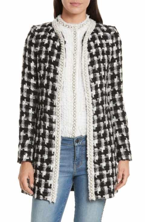 033308644 Alice + Olivia Andreas Houndstooth Jacket   Jackets and Coats ...