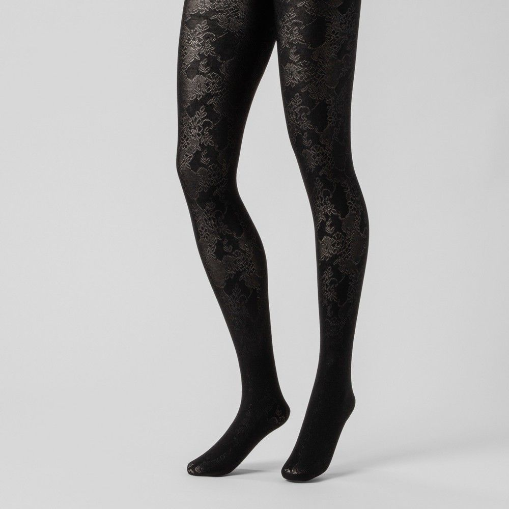 54531de34 Women s Shiny Jacquard Tights - A New Day Black L XL Gender  Female. Age  Group  Adult. Pattern  Solid. Material  Nylon.. Women s Shiny Jacquard  Tights - A ...