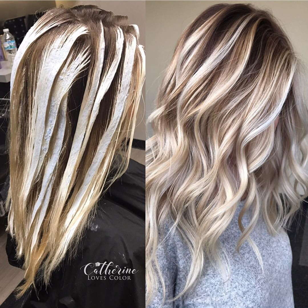 Balayage application u finished oligo clay lightener with just a