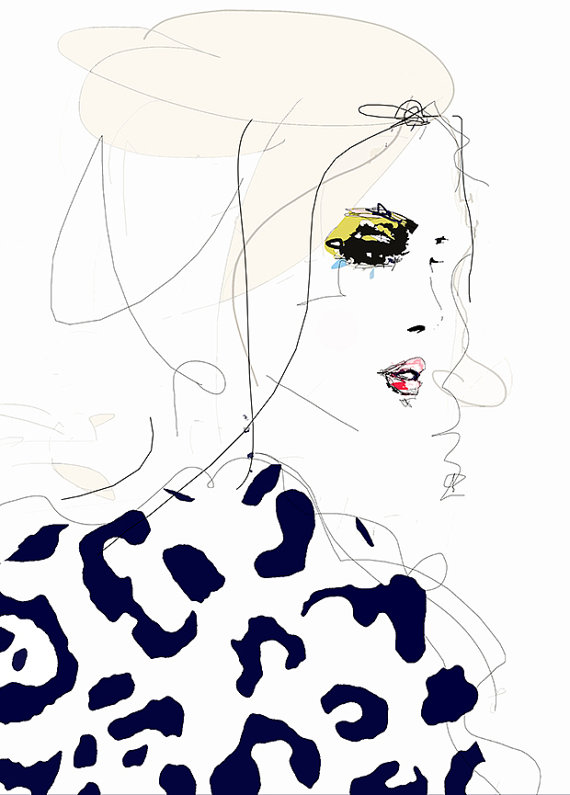 Draw the Line  - Fashion Illustration Art Print ,Portrait, Mixed Media Painting by Leigh Viner #illustrationart